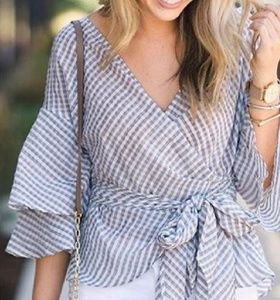 NWT Wayf blue and white wrap top